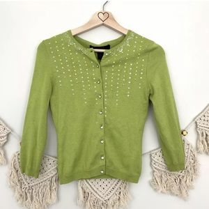 Express Cashmere & Silk Beaded Cardigan Sweater